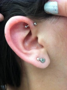 Single Forward Helix Piercing
