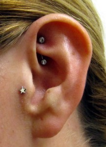 Rook and Tragus Piercing