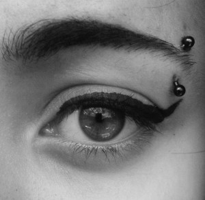 Vertical Eyebrow Piercing