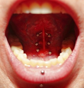 Triple Tongue Web Piercing