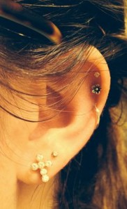 Double Cartilage Piercing Hoop and Stud