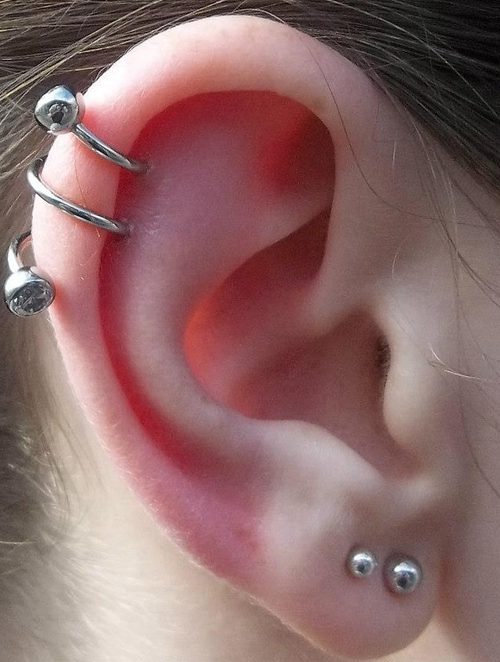 Double Cartilage Piercings Piercing Spiral